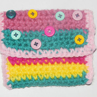 Single Crochet Wallet or Coin Purse in Rainbow Colors, Hand Beaded -- Small Pouch, Bag, Satchel, Envelope with Button Applique
