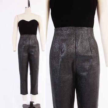 Vintage 50s LUREX PANTS / 1950s High Waisted Metallic Black Pin-up Rockabilly Cigarette Pants M - L