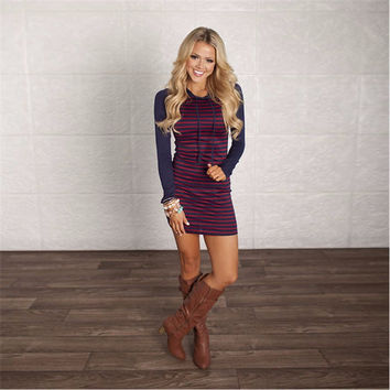 Purple and Pink Striped Hooded Sweater