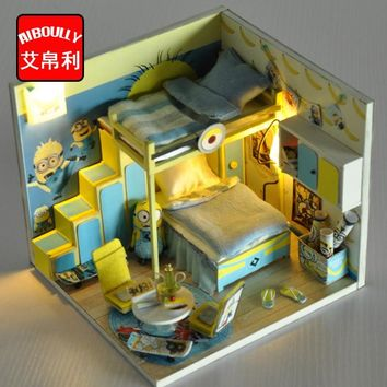 Free Shipping 2016 High Quality Diy Dolls House 1:12 Miniature Foldable Wooden Deckchair Lounge Beach Chair Hot Sale Yellow With A Long Standing Reputation Furniture