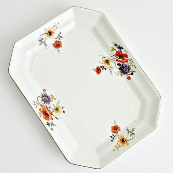 Vintage Limoges RARE China Tray, 1920s Golden Glow, Floral, Orange Poppies, Purple & Yellow Flowers,
