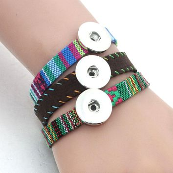 10pcs Handmade 18CM-25CM leather bracelets Child bangles Fit 18MM Snap Button Jewelry For Women 9821