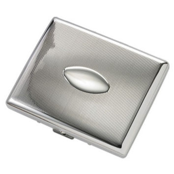 MG Gifts Oval Silver Cigarette Case For 20 Of 100