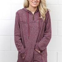 Heathered Zip Up Hooded Pullover {Burgundy}