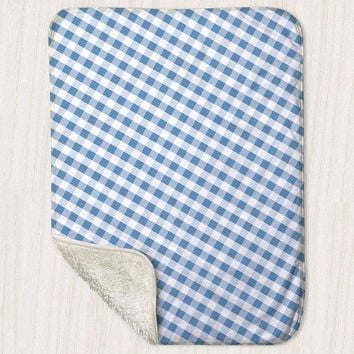 "Blue Gingham Pattern Baby Blanket - Sherpa Fleece Blanket Size 30"" x 40"" - Made to Order"