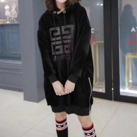 ONETOW Givenchy' Women Casual Fashion Velvet Logo Letter Long Sleeve Medium Long Section Thickened Hooded Sweater Dress