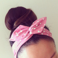 Pink Polka Dot Dolly Bow Headband