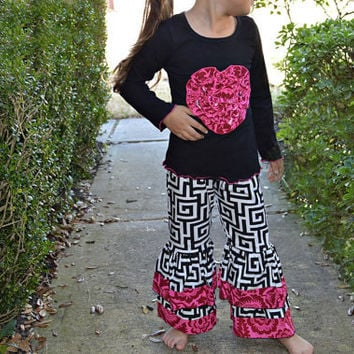 Girls Valentines Day outfit, Girls Boutique outfit, Girls Boutique set, Ruffle pants,