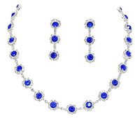 Cobalt Royal Blue Floral Crystal Rhinestone Collar Necklace Necklace Set Bridal Bridesmaid Prom
