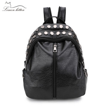 Lemon Kitten Backpack Female Student School Bags Female Backpack Rucksack Mochila Escolar Backpack For Women Girl Preppy Style