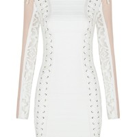 Honey Couture MAYA White with Pink Mesh Sleeve Detail Mini Bodycon Dress