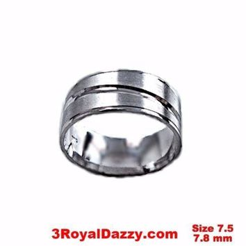 Lined Design Matte & Shiny 18k layer on sterling Silver Ring Band 7.8mm Size 7.5