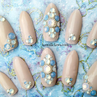 Elegant Nude Opal Swarovski 3D False/Fake Stiletto Nails bridal gyaru