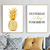 Yesterday Today Tomorrow Quote Wall Decor Pineapple Painting Canvas Art Print Poster, Wall Pictures For Decoration