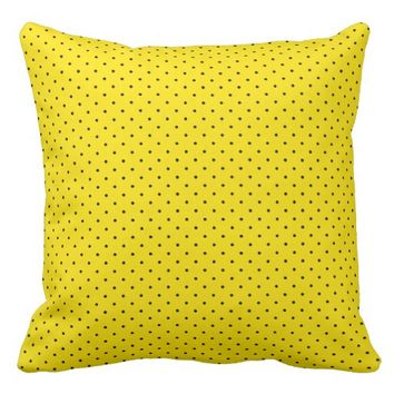 Yellow and Black Polka Dot Pattern Throw Pillow