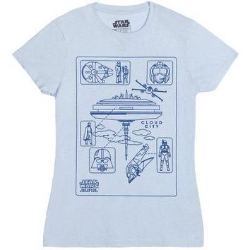 Star Wars Empire Strikes Back Cloud City Licensed Women's Junior T-Shirt - Blue