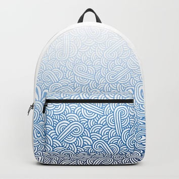 Gradient blue and white swirls doodles Backpack by Savousepate
