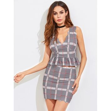 Scalloped Plaid Peplum Top And Skirt Co-Ord