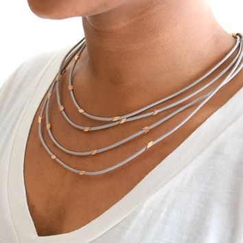 Taupe Leather Gold Chip Necklace