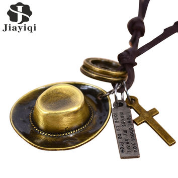 Jiayiqi 2016 Vintage Steam Punk Cowboy Hat & Cross Statement Necklace & Pendant Leather Necklace For Women Men Fashion Jewelry