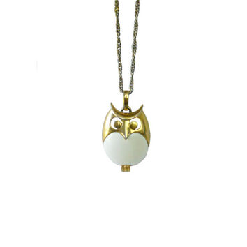 Vintage Owl Necklace Crown Trifari 1960s'  - White and Gold Tone w/Chain