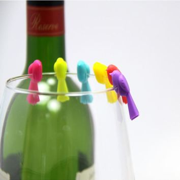 6 pcs wine glasses drinking and tag set, the green food grade Lovely birds glass markers Glass tag set No Retail Box
