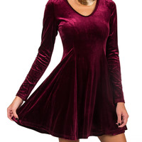 Velvet Fit and Flared Long Sleeve Dress - Burgundy - Burgundy /