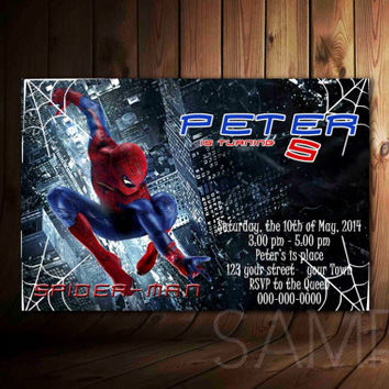 Spiderman Invitation Personalized, Spiderman Birthday Invitation
