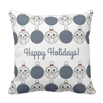 Cute Modern Christmas Owl Happy Holidays Kids Throw Pillow