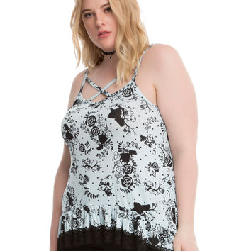 Disney Alice In Wonderland Ruffle Lace Bottom Girls Strappy Tank Top Plus Size