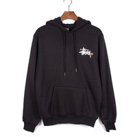 """Stussy"" Couple Letter Print Velvet Thickened Warm Hoodie Sweatshirt  Top"