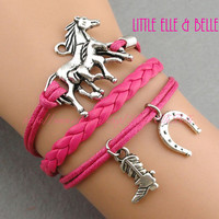 Horse, Horseshoe, Cowboy or Cowgirl Boots Charm Bracelet, Hot Pink Wax Cord, Leather Braid, Christmas Gift, Friendship, Sisters Gift