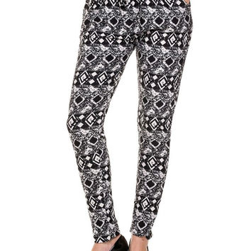 Dressy Mix Print Jogger Pants With Pockets