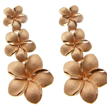 14K SOLID ROSE PINK GOLD SMALL TO LARGE HAWAIIAN PLUMERIA FLOWER POST EARRINGS