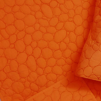"""amber orangecircle pattern quilted embroidery  twin size cotton quilted bedspread  in size 108x90inches  and 2 pillows -20""""x26"""""""