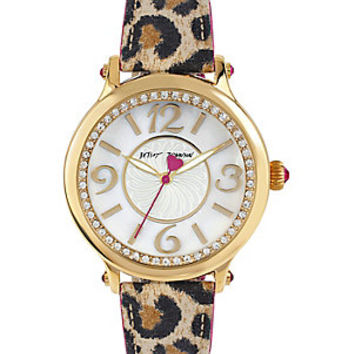LEAPIN LEOPARD CRYSTAL ACCENTS WATCH: Betsey Johnson