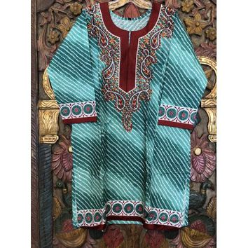 Mogul Women Bohemian Blue Cotton Tunic Dress Ethnic Style Summer Fashion Kurti L - Walmart.com