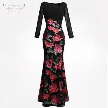 Angel-fashions Women's Evening Dresses Asymmetric Neck Long Sleeve Vintage Sequin Flowers  robe de soiree 396 356