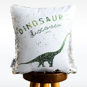 DISCOVERY Dinosaur Mermaid Pillow w/ Silver & White Sequins (2019 edition)