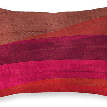 Southwestern Sonnet decorative lumbar pillow for home or office, colorful accent cushion, southwestern colors pink coral plum brown