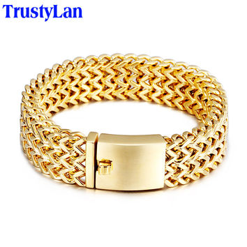 TrustyLan 2016 New Brand Gold Bracelet Men Jewelry Jewellery Gift Mens Bracelets Bangles Gold Filled Stainless Steel Wristband