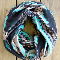 Teal Aztec Infinity Scarf