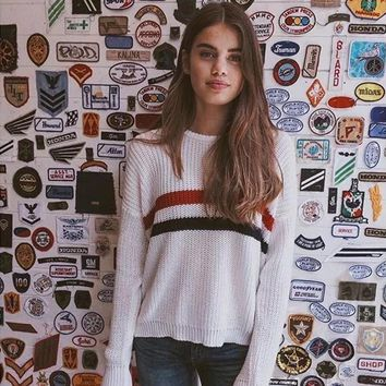 Round Neck Long Sleeve Knit Pullovers Tops Sweater