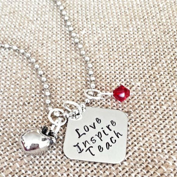 """Hand Stamped """"Love, Inspire, Teach"""" Necklace"""