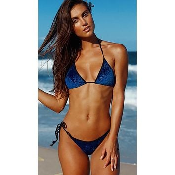 Chynna Dolls Royal Blue Embossed Velvet Bikini