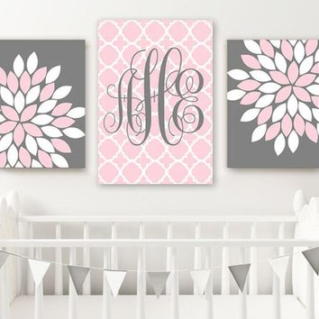 PINK GRAY Nursery Wall Art, Baby Girl Decor, Pink Gray Monogram Flowers, Above Crib Decor, Girl Bedroom Wall Decor, Set of 3 Canvas or Print