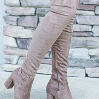 Thigh High Boots - Taupe