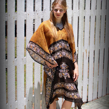 Silk Kaftan - one of a kind, perfect beach cover, mustard with batik print. Size 10-20