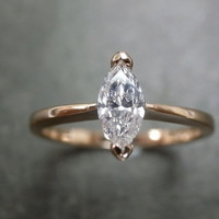 Marquise Diamond Engagement Ring in 18K Rose Gold