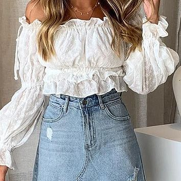 Vintage Embroidery Women Crop Tops Blouse Off Shoulder Slash Neck Blouse Girl Lantern Sleeve Shirt